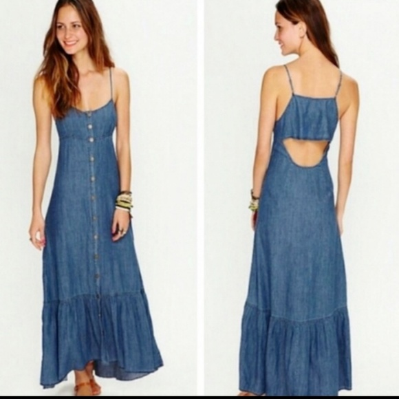 Free People Dresses & Skirts - Free People denim snap button down maxi dress S